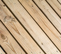 softwood decking surface
