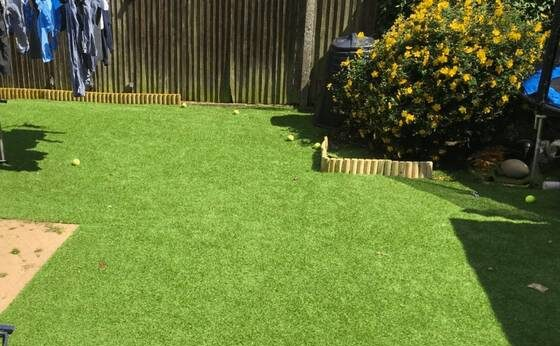 Tuda lawn laid on grass - our cheapest fake lawn