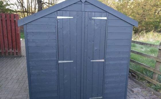 blue garden shades painted shed