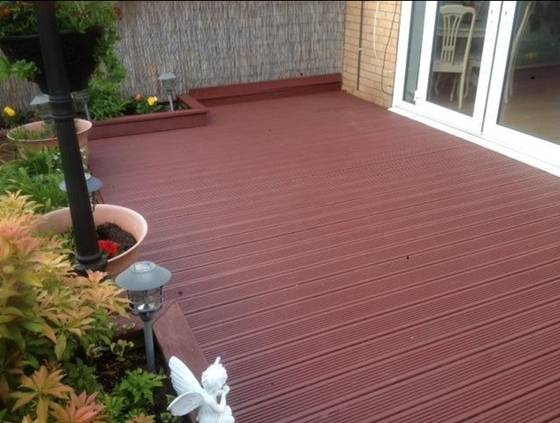 Ronseal red painted decking