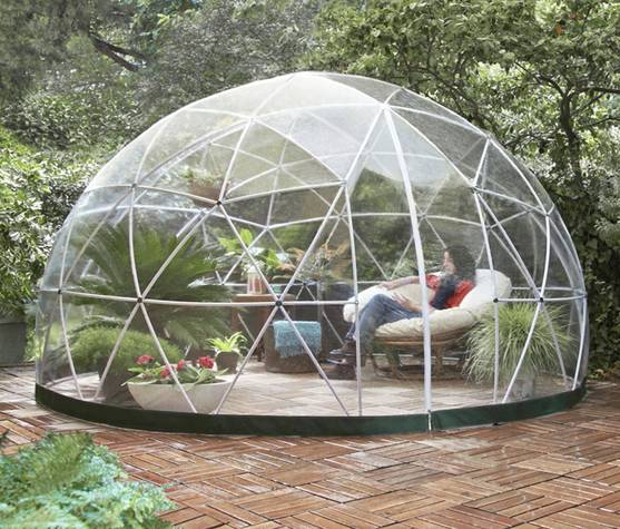 Garden Igloo 33244 Clear Greenhouse with lady seated inside
