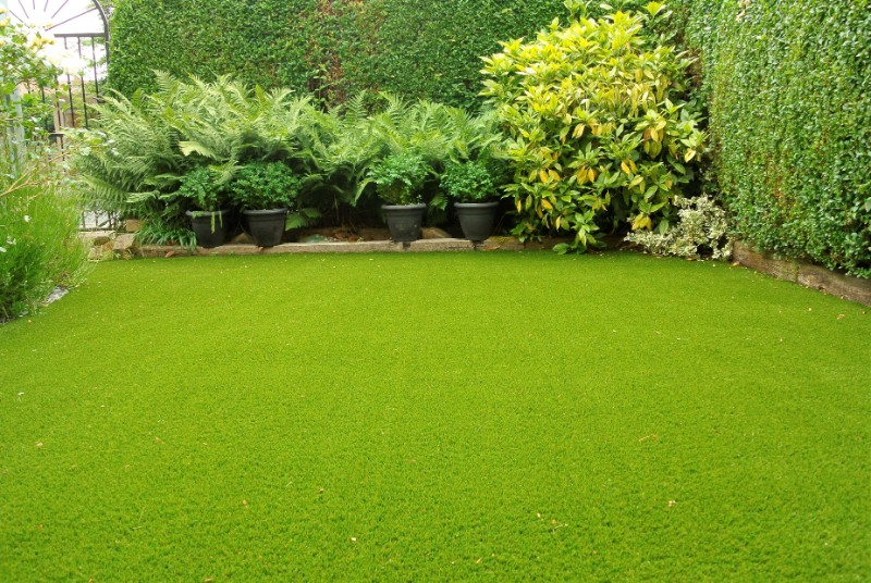 back garden with fake turf